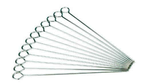 12 x Extra Long 14″ Steel BBQ Meat Vegetable Kebab Skewers (1 Dozen)