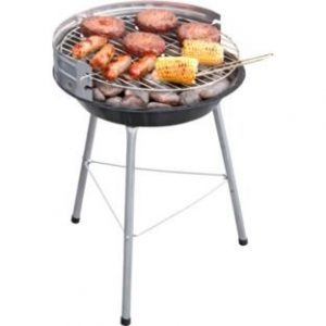 35cm Round Charcoal BBQ.Constructed from steel. Overall size H50, W35, D40cm. Size of cooking area 35 x 35cm. Porcelain enamelled steel pan. Weight 1.5kg. Packed flat.