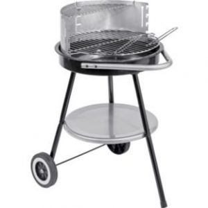48cm Round Charcoal BBQ.Constructed from steel. Constructed from steel. Warming rack. Overall size H75, W48, D60cm. Size of cooking area 42 x 42cm.