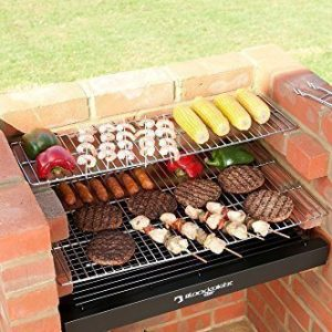 BLACK KNIGHT BRICK BBQ KIT WITH STAINLESS STEEL COOKING GRILL, WARMING RACK & COVER