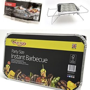 Bar-Be-Quick Instant Barbecue Stand- Foldable Instant BBQ stand. Fits both size of disposable barbecue, No assembly. Light & portable. + 1 X Family size Instant BBQ- Cooks for ten!