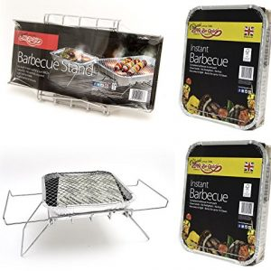 Bar-Be-Quick Instant Barbecue Stand- Foldable Instant BBQ stand. Fits both size of disposable barbecue, No assembly. Light & portable + 2 X Instant BBQ