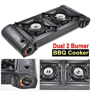 Beyondfashion 61cm x 26cm x 10cm Portable Heater Gas Dual 2 Hob Burner Camping Cooking Fishing BBQ Stove