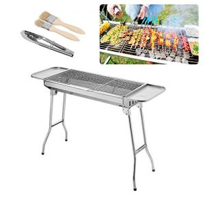 Biligo Stainless Steel Portable Outdoor Household Folding Charcoal BBQ Grill + Brush + Plates + Tongs