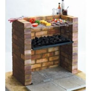Built-in Charcoal BBQ. Constructed from steel. Overall size H6, W67.5, D39.5cm. Size of cooking area 36 x 62cm. Bricks not included. Weight 3.8kg. Packed flat.