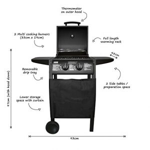 Charles Bentley Deluxe 2 Burner Gas Bbq Steel Barbecue In Black