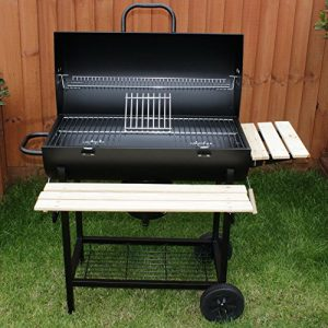 Charles Jacobs Summer Garden Grill Cooking Charcoal Patio Barrel BBQ with Wheels in Black