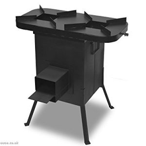 Dunster House Rocket Stove Burner BBQ Wood Burning Outoor Camping Cooker with 2 Headed Cooker