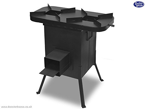 Dunster house rocket stove burner bbq wood burning outoor for Portable rocket stove plans