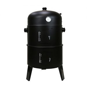 First4Spares 3 in 1 Round Charcoal BBQ Grill & Smoker Complete with Hangers and Thermostat – Black