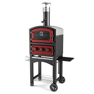 Fornetto Wood Fired Oven and Smoker – Outdoor Pizza Oven – Red