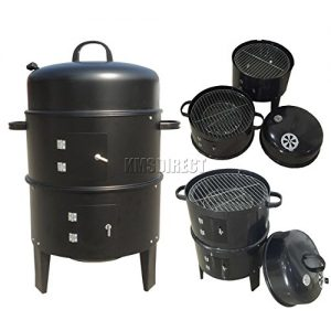 FoxHunter BBQ Charcoal Grill Barbecue Smoker 3 Layers Garden Outdoor Camping Cooking Black Powder Coated Steel New