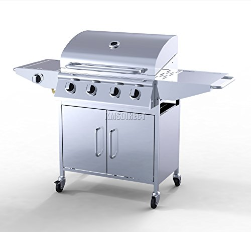 foxhunter garden outdoor portable bbq gas grill stainless steel 4
