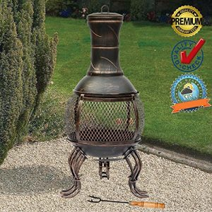 FunkyBuys Deluxe Large 89cm (3ft height) BRONZE Deluxe Cast Iron Heater BBQ Mesh Design Steel Chimenea (SI-BBQ4) Antique Style Rustic