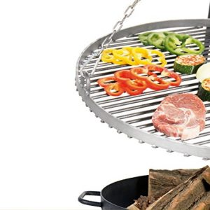 "Hanging Grill Pan Three Legged Stainless Steel 70cm incl. Fire Pit ""Pan 37"" 80cm"