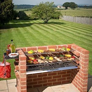 LARGE 100% STAINLESS STEEL BRICK BBQ KIT WITH WARMING RACK AND COVER