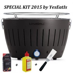 LOTUGRILL Special Kit 2015 by YesEatIs – Smokeless Charcoal BBQ + 1Kg of LotusGrill Charcoal + 1 LotusGrill Safety Fuel Gel + 1 Grill Spatula – BLACK