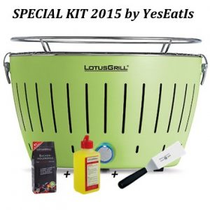 LOTUGRILL Special Kit 2015 by YesEatIs – Smokeless Charcoal BBQ + 1Kg of LotusGrill Charcoal + 1 LotusGrill Safety Fuel Gel + 1 Grill Spatula – GREEN