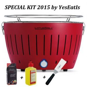 LOTUGRILL Special Kit 2015 by YesEatIs – Smokeless Charcoal BBQ + 1Kg of LotusGrill Charcoal + 1 LotusGrill Safety Fuel Gel + 1 Grill Spatula – RED