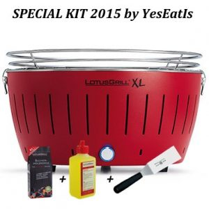 LOTUGRILL XL Special Kit 2015 by YesEatIs – Smokeless Charcoal BBQ + 1Kg of LotusGrill Charcoal + 1 LotusGrill Safety Fuel Gel + 1 Grill Spatula – RED XL