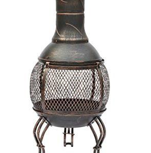 Lado Large BRONZE 89Cm Large Open Bowl Mesh Cast Iron Chiminea Patio Heater Black / Bronze