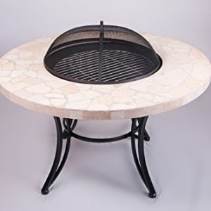 Mosaic Garden Dining Table with built in Barbecue / Fire Pit includes Table Panel, Spark Guard & Grill