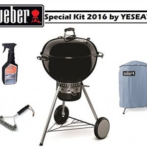 New Special WEBER KIT 2016 – Master touch GBS Black 57cm + Cleaning Brush for Grill + Cleaning Spray + Cover for BBQ