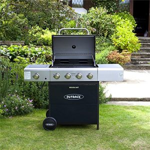 Outback Meteor Hooded Barbecue 4 Burner Gas BBQ with Side Burner