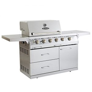 Outback Signature 4 Burner Gas BBQ with Side Burner, Rotisserie and Cover Stainless Steel