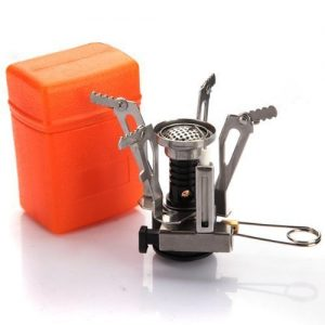 Outdoor Picnic Gas Burner Portable Camping Mini Steel Stove Case Silver By BuyinCoins