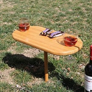 Portable 2 Person Bamboo Wine Snack Serving Table Tray