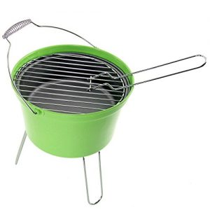 SPARES2GO Outdoor BBQ Portable Barbecue Bucket Festival Camping Grill (Green)