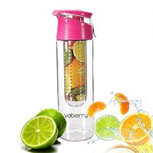 Voberry 800 Milliliter Pink Fruit Infusing Water Bottle with Fruit Infuser and Flip Lid Lemon Juice Make Bottle