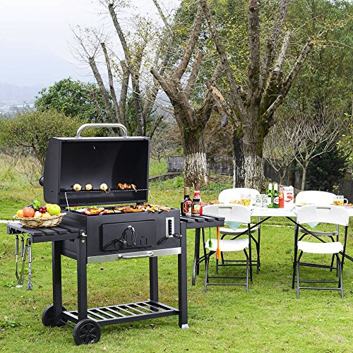 XXL Charcoal BBQ Grill U2013 Includes Two Side Tables