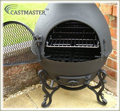 Castmaster Pasadena Cast Iron Chiminea Pot Belly Wood Stove Patio Heater U2013  FREE BBQ Grill Included