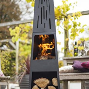 La Hacienda 150 cm Oxford Contemporary Steel Chiminea Patio Heater with Wood Store – Black